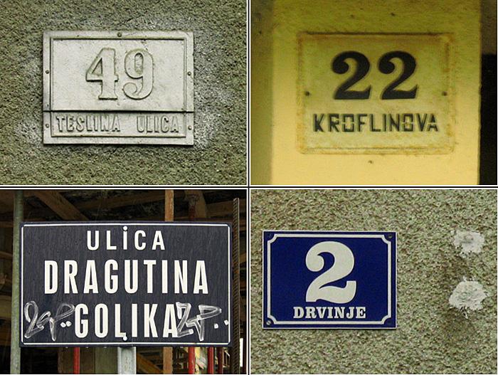 Postojeće numeracije na kućama u Golikovoj ulici [2008.]