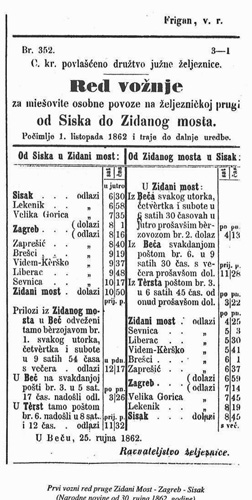 Prvi vozni red pruge Zidani Most - Zagreb - Sisak iz 1862. godine