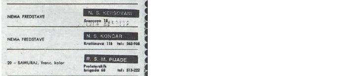 Izrezak kino-programa iz Večernjaka iz 1971. godine [PZ 2013.]