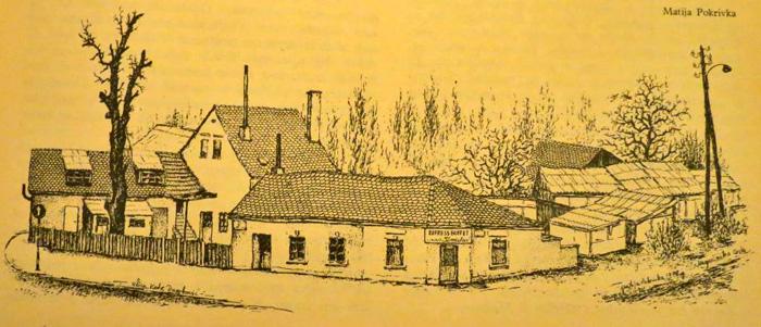 """Grafika Matije Pokrivke iz 1978. - Express buffet """"Tomislav"""" - sada """"Mrzla piva"""" - preneseno iz knjige """"Crvena Trešnjevka"""""""
