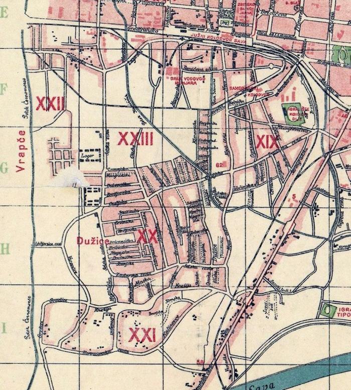Administrativna podjela Trešnjevke na rajone 1935. godine [VR]