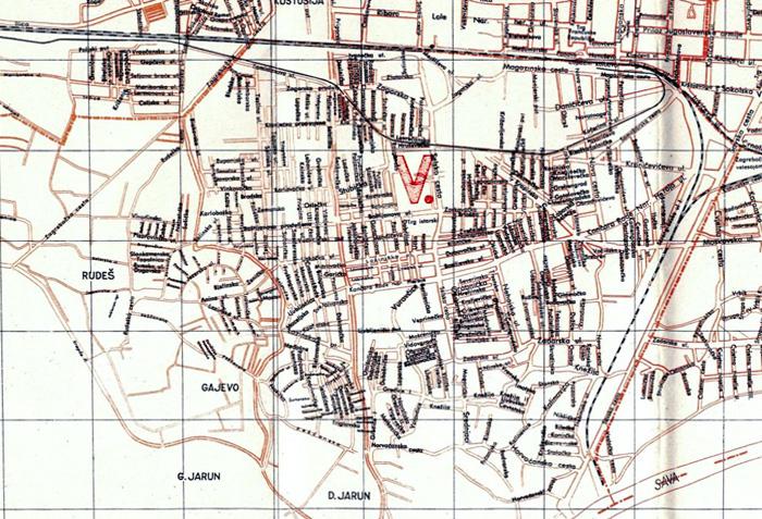 Administrativna podjela Trešnjevke 1948. godine - tzv. V. rajon [VR]