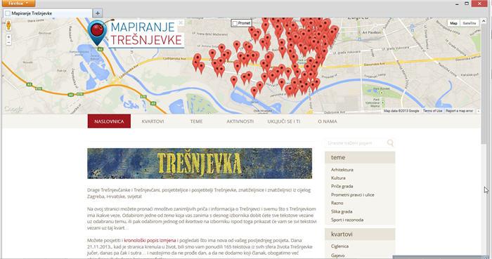 """Web-stranica """"Mapiranje Trešnjevke"""" puštena u javnost 21.11.2013."""