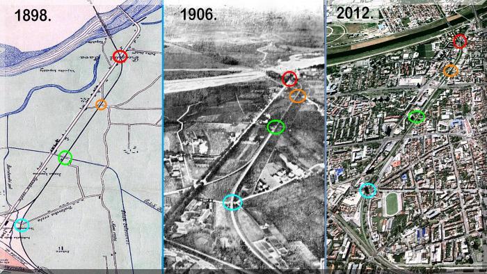 Usporedba stanja križanja pruge s cestama 1906. [MS 2013.]