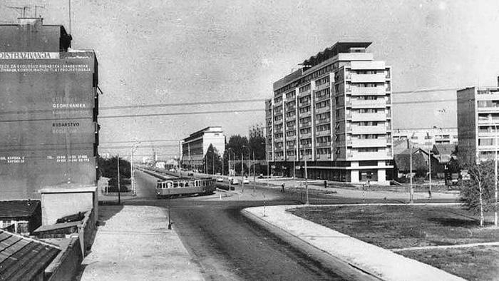 Ulica grada Vukovara pogled s nadvožnjaka (prema istoku) oko 1962.