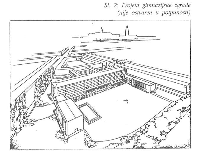 Djelomično ostvareni plan gradnje IX. gimnazije na Savskoj cesti - preneseno iz zbornika 50-godišnjice