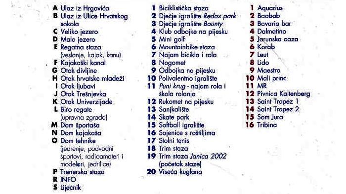 """Raspored objekata u rekreacijskom centru """"Jarun"""" - kazalo [VT 2008.]"""