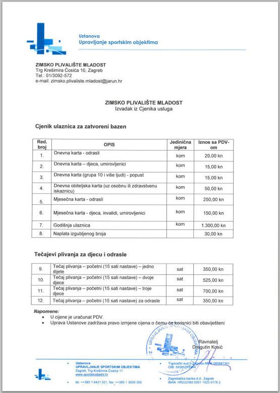 """Cjenik korištenja bazena """"Mladost"""" (Žajina) za građanstvo [GP 2014.]"""