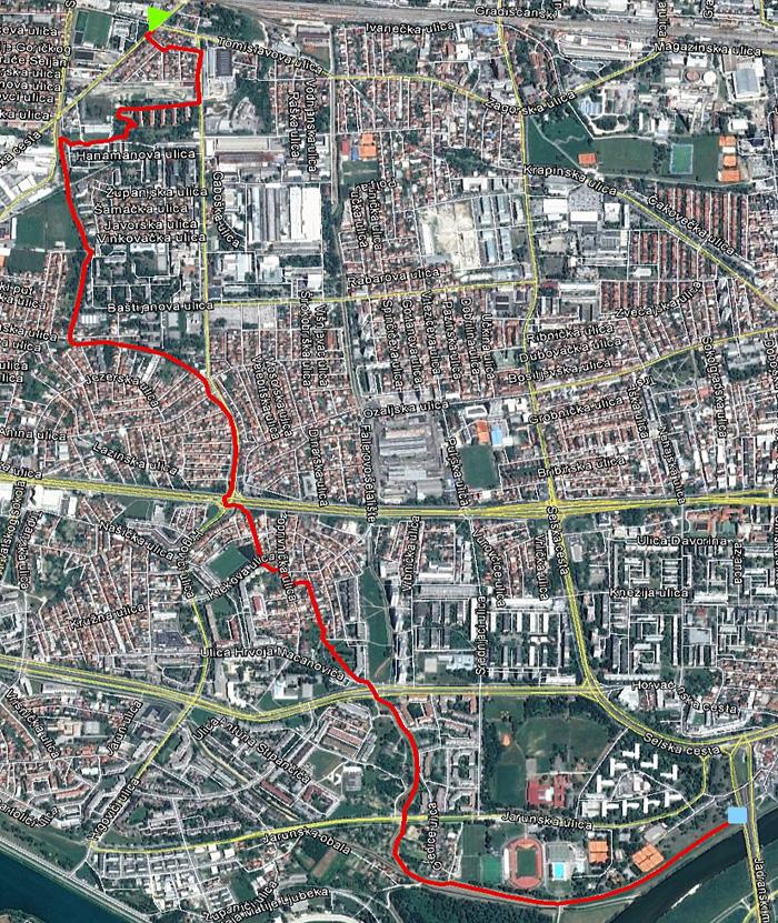 """Pređena trasa (~ 5,5 km) predbožićne šetnje """"trešnjevačkom dijagonalom"""" [MS 2014.]"""