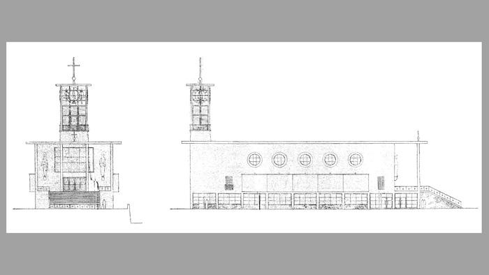 Dio nacrta crkve Sv. Marka Križevčanina na Selskoj cesti – Državni arhiv [KK 2014.]