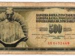 Novčanica od 500 dinara sa skulpturom Tesle (Beograd / Niagara Falls) iz razdoblja 1965-81. [VT 2016.]