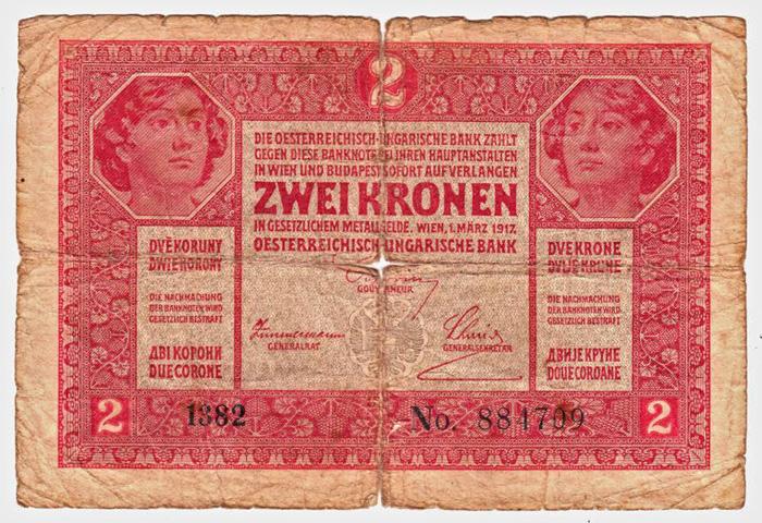 Novčanica od 2 (austrougarske) krune iz 1917. [VT 2016.]